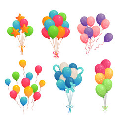 Cartoon birthday balloons colorful air balloon vector