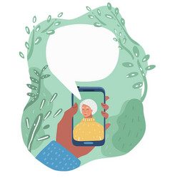Cartoon granny talking on phone vector