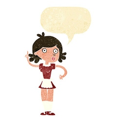 cartoon surprised maid with speech bubble vector image