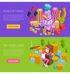 Casino horizontal isometric banner vector