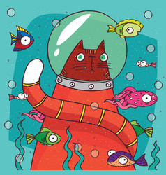 cat in diving suit on the bottom of aquarium vector image