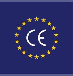 ce mark ce symbol on flag europe vector image