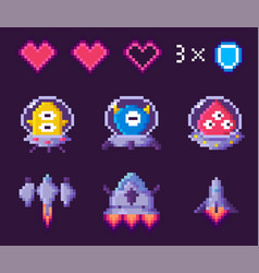 Choose hero for pixel game space sign vector