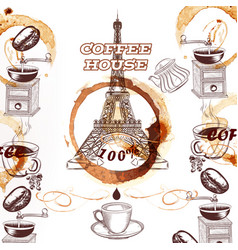Coffee background with hand drawn eiffel tower vector