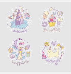 colored set teenage girl icons cute cartoon vector image