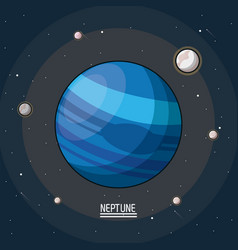 Colorful poster of the planet neptune in the space vector
