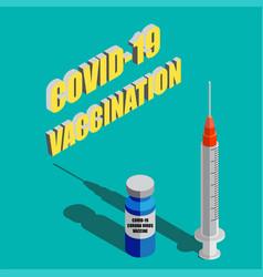 Coronavirus vaccine isometric background vector