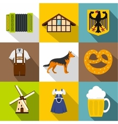 Country Germany icons set flat style vector image