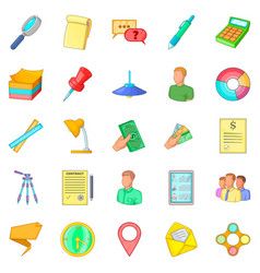 Coworking space icons set cartoon style vector