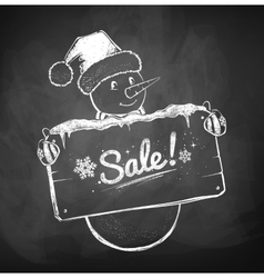 Cute Snowman with sale sign vector image
