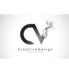 Cv letter logo design with black smoke vector