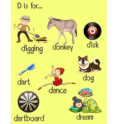 Different words for letter D vector