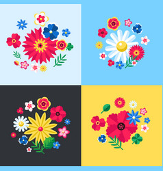 digital blue flowers set vector image