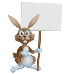 easter bunny holding sign vector image