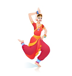 Ethnic dance of indian girl vector image