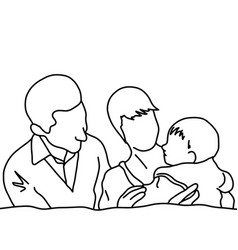 family couple with their baby vector image