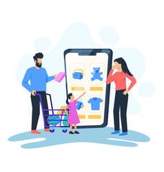 family shopping online vector image