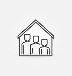 family under house roline icon stay vector image