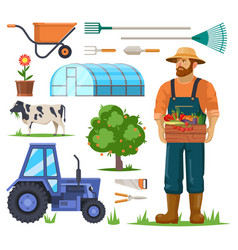 farm or garden items and farmer with harvest vector image
