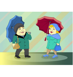 fat people was found in autumn in the rain vector image