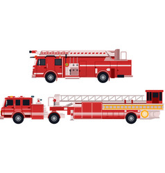 Fire truck in flat vector