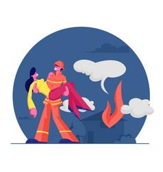 Fireman saving girl from fire strong firefighter vector