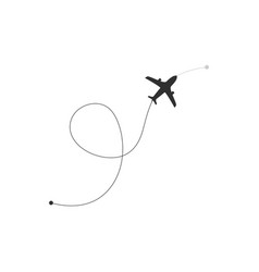 Flight route plane icon airplane icon with route vector