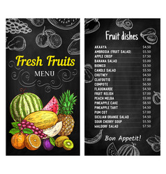 Fresh fruits chalkboard menu template vector