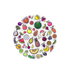 fruits and vegetables in circle - badge vector image