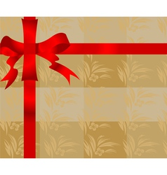 Gift ribbon with flower style pattern background vector image