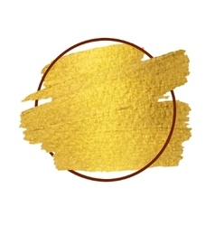 gold paint stroke with border frame vector image