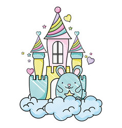 Grated cute male mouse in the castle and clouds vector