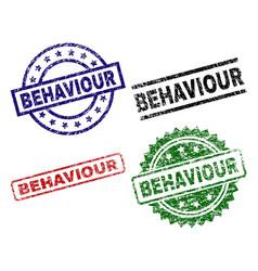 Grunge textured behaviour seal stamps vector