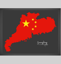 guangdong china map with chinese national flag vector image