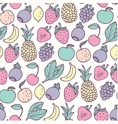 Hand drawn cartoon fruits seamless pattern vector