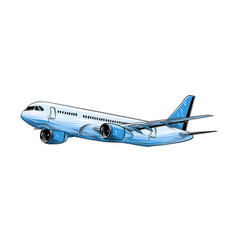 hand drawn sketch of aircraft in blue color vector image