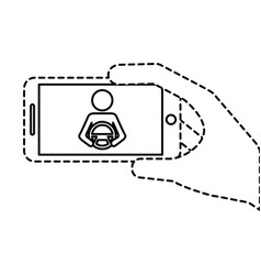 Hand holding smartphone gps navigation driver with vector