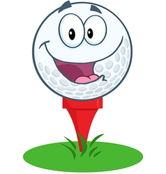Happy golf ball cartoon character over tee vector
