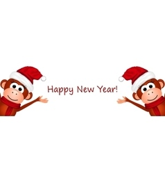 Happy New Year Postcard with monkeys vector