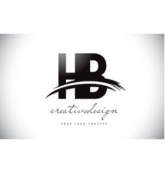 Hb h b letter logo design with swoosh and black vector