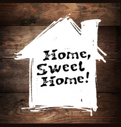 Home sweet home lettering hand drawn greeting vector