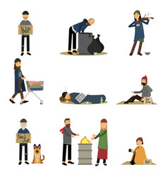 Homeless people and vagabonds begging money vector