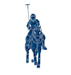Horses polo player sport cartoon graphic vector