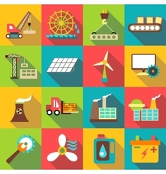 Industrial icons set flat style vector