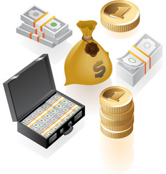 Isometric icons of money vector image