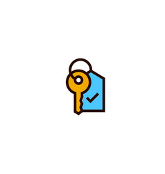 Key with tag icon real estate hotel home owner vector