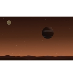 Landscape of desert with planet outer space vector