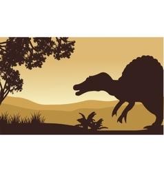 Landscape of spinosaurus in hills vector