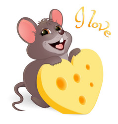 Lovely mouse with cheese vector
