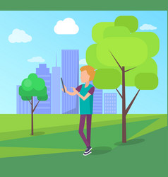 Man record video on digital tablet in city park vector
